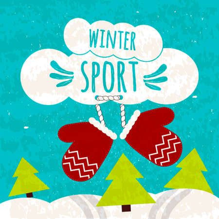 piste: Juicy colorful typographic poster with the text about winter sports on the beautiful blue winter background with snow.