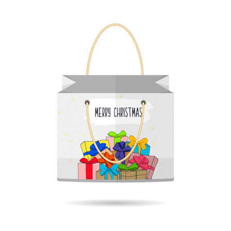 holiday shopping: Paper Shopping Bags collection for the holiday merry Christmas and happy new year isolated with Christmas gifts on white background.