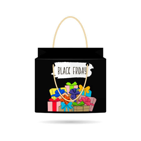 holiday shopping: Paper Shopping Bags collection for holiday sales black Friday with gifts on white background.