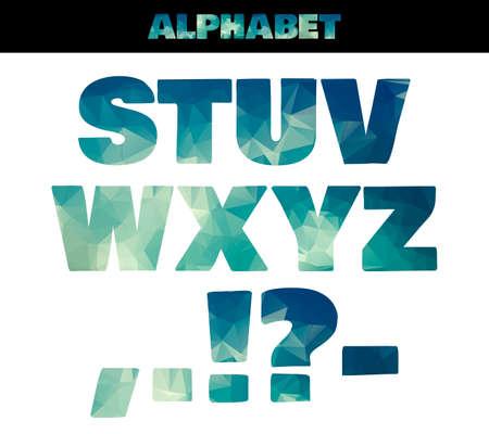 Polygon geïsoleerde kleurrijke alfabet lettertype. Vector illustratie in mariene zomer stijl. Deel 3. Vector Vector Illustratie