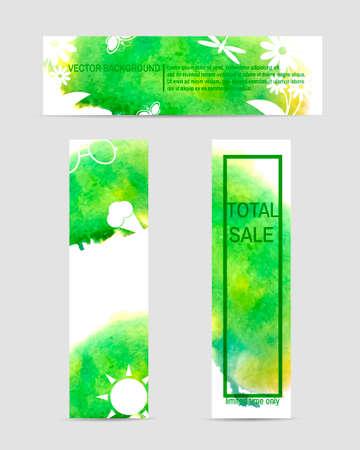 unicef: Set di elementi web colorati. 3 estate eco acquerello banner. Vettore Vettoriali