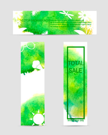 greenpeace: Set of colorful web elements. 3 summer eco watercolor banner. Vector