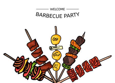 Colorful illustration de vecteur d'un parti de barbecue sur un fond blanc. Vector illustration