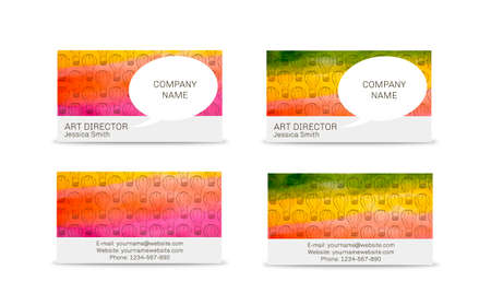 travel card: Business travel card on watercolor background. Vector Illustration