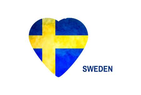 rectangulo: fondo de la acuarela en colores de la bandera nacional de Suecia. Me encanta Suecia. Vector Vectores