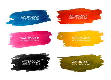green ink: Vector beautiful watercolor backgrounds for your design in 6 colours. Vector illustration Illustration