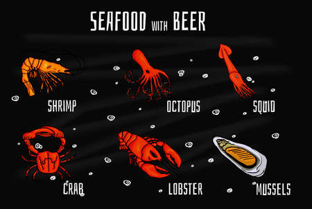 mouthwatering: Collection of colorful mouthwatering seafood snacks for beer. Vector illustration on blackboard with chalk. Vector illustration