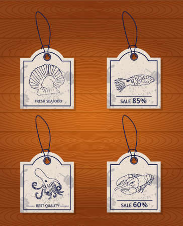 scallop: set of 4 vintage design elements seafood: lobster, oyster, scallop, cuttlefish and octopus. Vector illustration