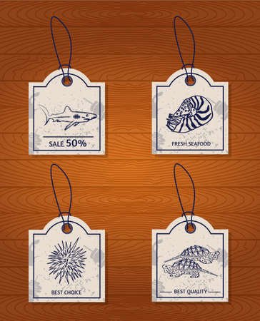et of 4 vintage design elements seafood: shark, Nautilus, sea urchin and the turtle. Vector illustration