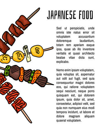 Japanese dishes. Background with Japanese Yakitori dish for your design. Colorful vector illustration on white background. Vector illustration