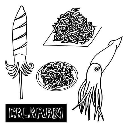 korea food: seafood set of sea food squid. Squid-koreyskiy dried squid, grilled squid. luxury food. Vector Illustration