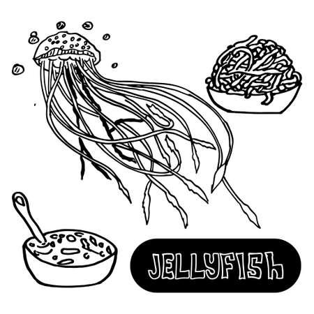 yellow china: Seafood soup of jellyfish. Sea jellyfish from China yellow sea. Vector