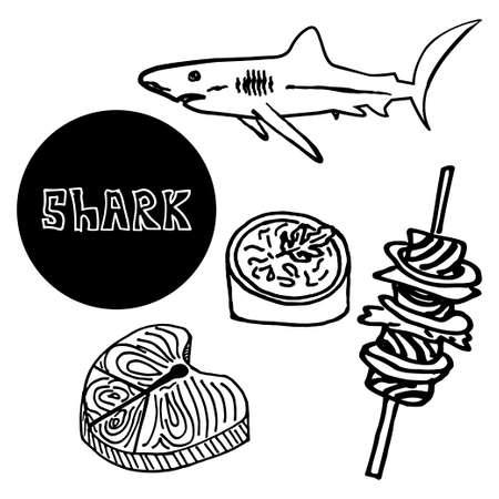 delicatessen: seafood shark fin soup, skewers of shark meat, delicatessen, luxury food. Vector