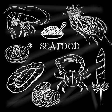 school of fish: Set of seafood and delicacies drawn on the school Board fish, salmon, crab, shrimp. Vector