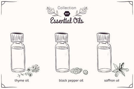A set of essential oils in black and white style: thyme, black pepper, saffron. Vector illustration Çizim