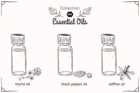 Een set van etherische oliën in zwart-wit stijl: tijm, zwarte peper, saffraan. vector illustratie