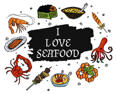 delicatessen: I love seafood on a pure white background. Isolated set of sea products and delicatessen, food gourmet. Vector Illustration