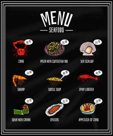 appetizers: Colorful menu of seafood and delicacies on the blackboard, appetizer. Vector