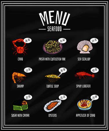 colorido menú de mariscos y manjares en la pizarra, aperitivo. Vector