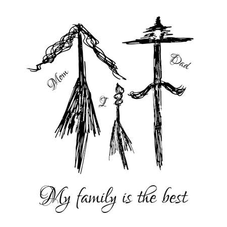 happy couple at home: Vector illustration drawn by hand. Mom, dad and I are a happy family.