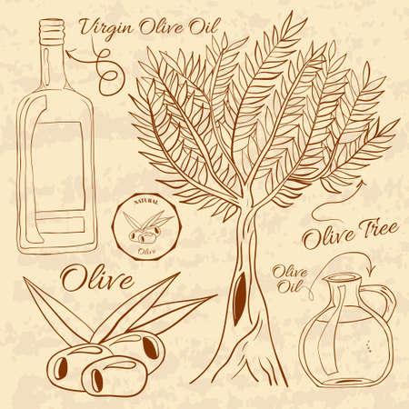 salad dressing: Hand drawn illustration of a set olive. Web Elements for design