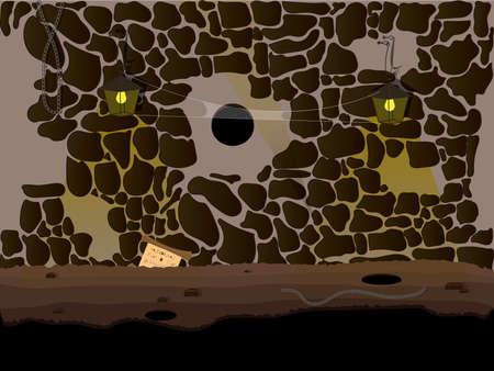 peinture rupestre: Vector nature cartoon Seamless paysage, souterrain grotte fond sans fin avec l'éclairage des lampes et des toiles d'araignée traîner Illustration