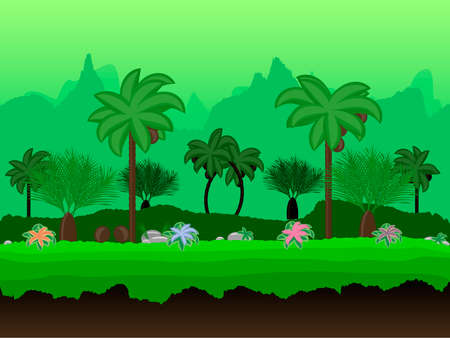 unending: Vector Seamless cartoon nature landscape, unending tropical background with palm trees, coconuts, exotic flowers and multiple levels mountains and bushes