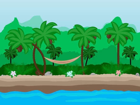 tropical beach panoramic: Vector Seamless cartoon nature landscape, unending tropical background with beach with palm trees, coconuts, exotic flowers and multiple levels mountains and bushes