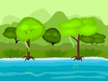 unending: Vector Seamless cartoon nature landscape, unending tropical background with the beach with old trees, exotic vines and multiple levels mountains and bushes
