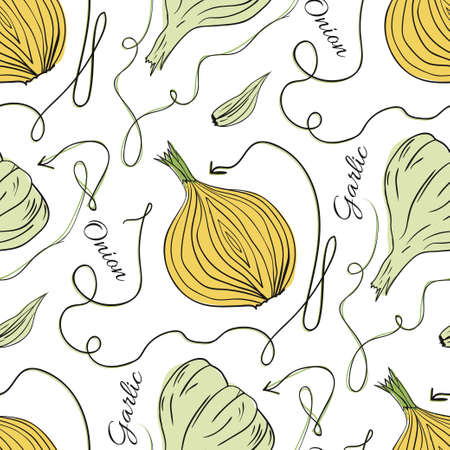 onions: Hand drawn original vector seamless pattern with onions and garlic on white background