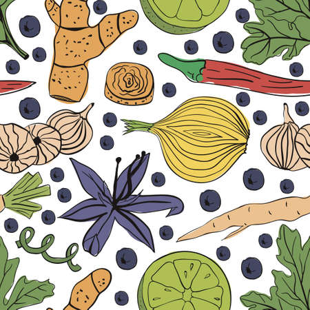 Hand drawn colorful vector seamless pattern eco spices on white background