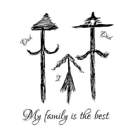 happy couple at home: Vector illustration drawn by hand Daddy, daddy and me happy family.
