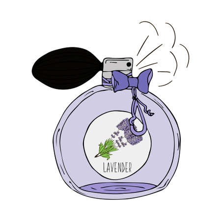 Hand getrokken vector illustratie van een parfumflesje met lavendelgeur