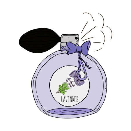 Hand gezeichnete Vektor-Illustration eines Parfüm-Flasche mit Lavendelduft Standard-Bild - 50567144