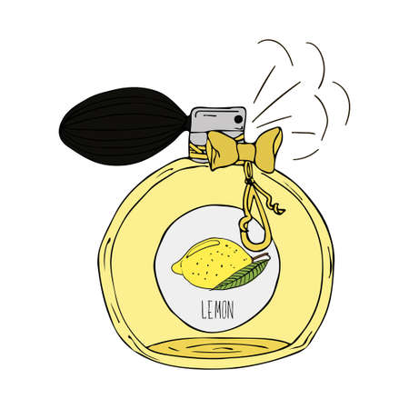 Hand Drawn vector illustration of a perfume bottle with the scent of lemon