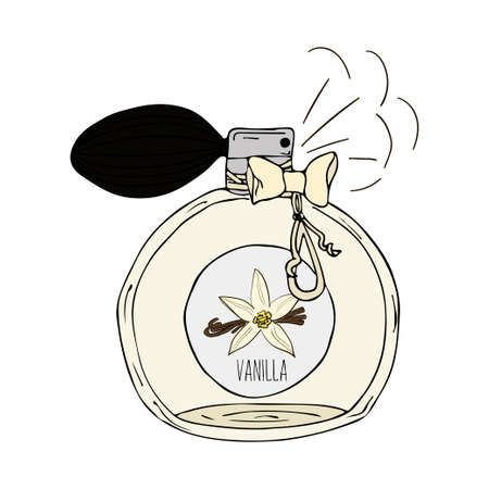 scent: Hand Drawn vector  illustration of a perfume bottle with the scent of vanilla