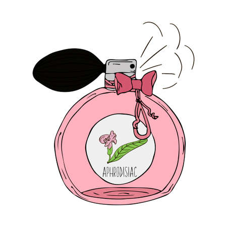 aphrodisiac: Hand Drawn vector illustration of a perfume bottle with the scent of aphrodisiac