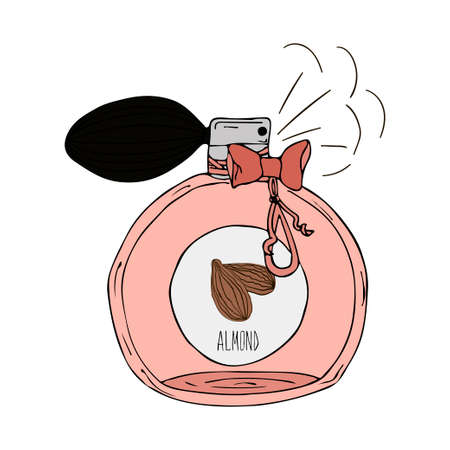 scent: Hand Drawn vector illustration of a perfume bottle with the scent of almond