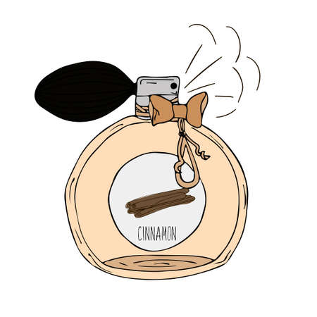 cinnamon: Hand Drawn vector illustration of a perfume bottle with the scent of cinnamon