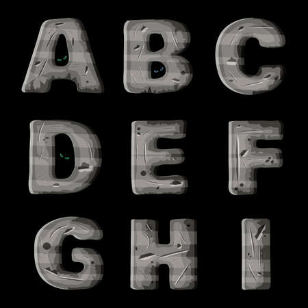 metal letters: A set of metal letters, font design for video and mobile games.