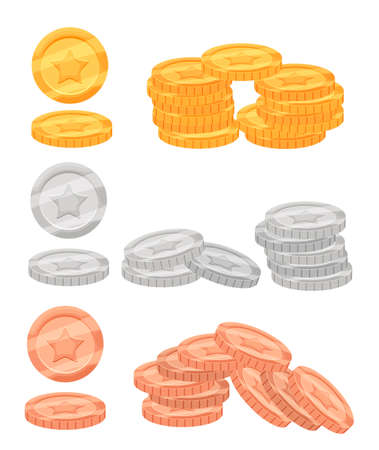 augmentation: Set of colorful cartoon metal resources, coins of gold, bronze and silver for the design of mobile games and browser-based online applications.