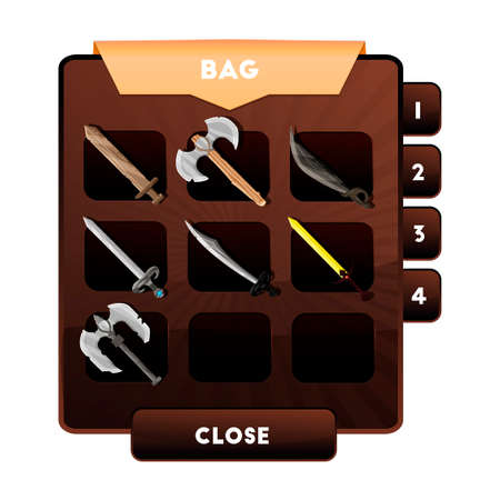 armament: An example of the game window with the choice of weapons or other objects and resources in a backpack for computer games. s bag of artifacts.