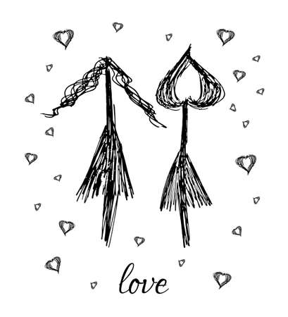 beautiful lesbian: Hand drawn arrow loving lesbian family on white background Illustration