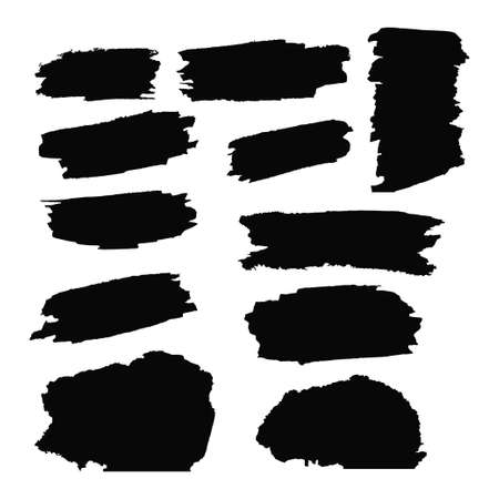 A collection of black grungy abstract hand-painted brush strokes banner.