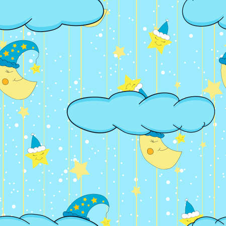lullaby: Cartoon cute illustration seamless pattern for a childs room or bed linen and pajamas with smiling moon and stars.