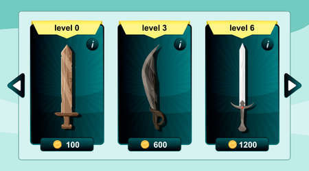 online game: Interface game design resource includes game weapons and resource icon for mobile and online game.