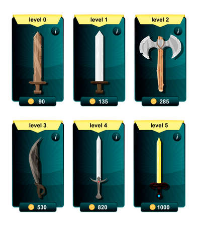 artefact: Interface game design resource includes game weapons from various metal materials and resource icon for mobile and online game. Playing cards with weapons.