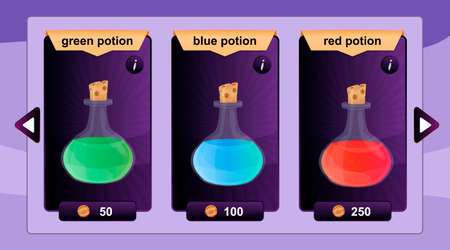 online game: Interface game design resource includes game bottles of elixirs and other herbal potions resource icon for mobile and online game.