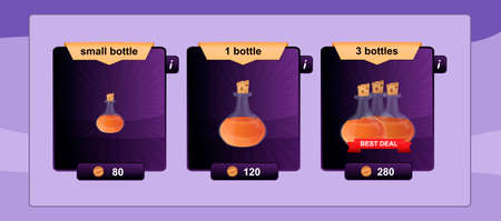 Interface game design resource includes game bottles of different sizes with elixirs and other herbal potions resource icon for mobile and online game. Best offer buy.
