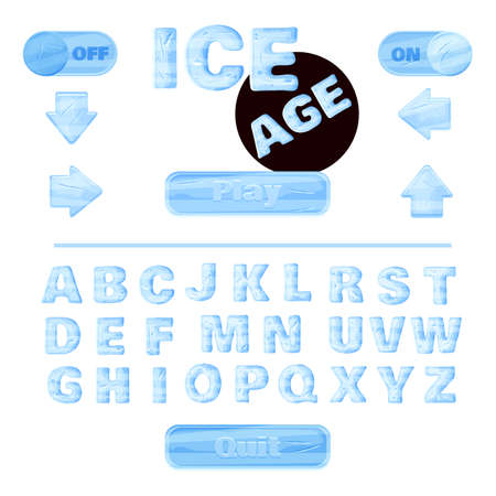 headings: colorful of stylized under the ice alphabets for childrens education or use for headings in online games, browser-based and mobile applications.